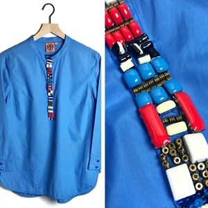 Tory Burch • Cobalt Blue Beaded Tunic Blouse
